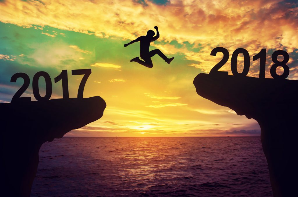 A man jump between 2017 and 2018 years